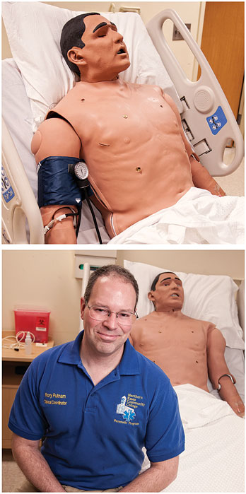 Top: Training on Stan - who has a pulse, can sweat and 'bleed' -gives students a chance to experience realistic medical emergencies before they see them in the field. Bottom right: Rory Putnam, a coordinator for the program.