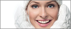 Style_File_B_Home, Woman's Smiling Face with ultra white mittens and hat