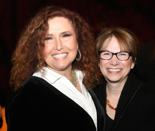 Grammy winner Melissa Manchester, left, spent three days at UMass Lowell in February as an artist-in-residence, thanks to the efforts of UMass Lowell Prof. Gena Greher, right, coordinator of music education and the 2014 Nancy Donahue Endowed Professor of the Arts. The professorship was established in 2009 by Merrimack Valley philanthropists Nancy and Richard Donahue to promote music, art and theater education at the university. Manchester and Greher are lifelong friends. (Photo credit: Tory Germann for UMass Lowell).
