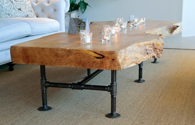 Raw wood, also known as raw edge wood, has been trending over the past few years. Photos by Linda Holt.