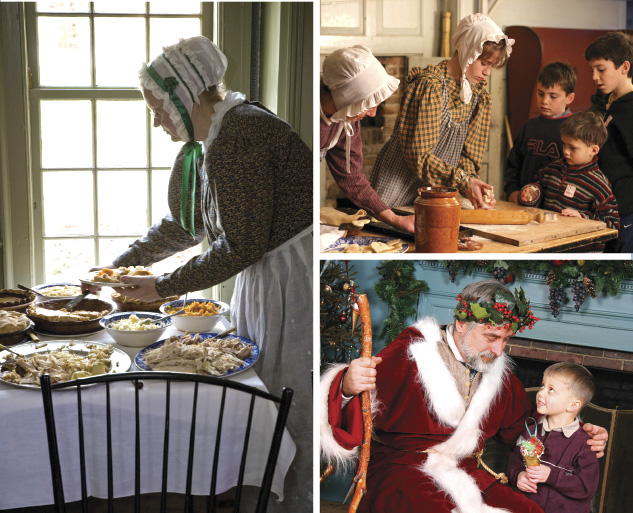 Left: At OSV's annual Thanksgiving celebration, visitors can learn about 1830s table manners and exactly what people ate on this most American of holidays nearly 200 years ago. Top right: Perhaps most surprising to visitors are the many similarities between an early 19th century Thanksgiving and our modern version. In fact, you're likely to find more similarities than differences, especially when it comes to roast turkey, pies and kids helping to set the table. Bottom right: A young OSV visitor meets Father Christmas, a forerunner of Santa Claus who was originally part of the traditional English midwinter celebration. As direct descendant of the Puritans who first settled here, people in rural 1830s New England did not consider Christmas to be the major holiday we do today. Photos courtesy Old Sturbridge Village.