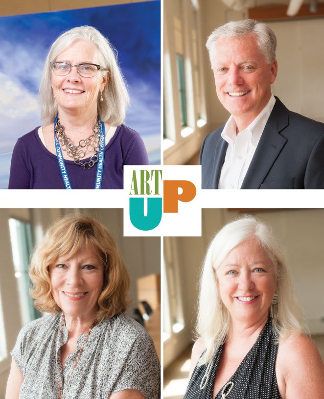Top left: Director of Development and Communications Clare Gunther. Bottom Left: ArtUp Committee Chair Cathleen Stewart. Top right: Lowell attorney Michael Gallagher. Bottom right: Committee Member Caroline Gallagher.