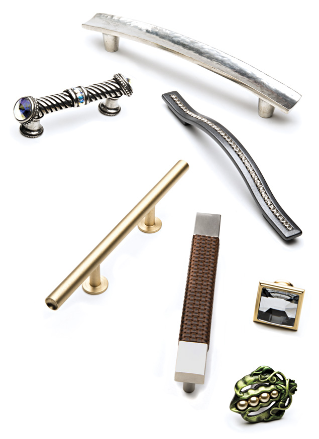 Above are a few examples of popular trends in cabinet hardware: metal; leather; Lucite; wood; Swarovski crystals; embossed leather-wrapped handles. Photo by Kevin Harkins.