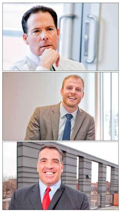 """President and COO of Eastern Bank, Bob Rivers, shown at top, is a founding member of the partnership. Newly appointed Executive Director Derek Mitchell, at center, brings with him a decade of success in nonprofit leadership. At bottom, founding member Sal Lupoli, CEO of Lupoli Companies and vice chairman of the partnership, says he is """"ready to roll up his sleeves"""" and do whatever it takes to assist the economic development of the city. Photos by Meghan Moore."""
