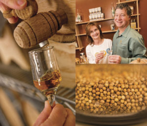 Left: Many craft spirits are aged in oak barrels like this one. Top right: Andy and Cindy Harthcock of Djinn Spirits in Nashua, N.H., are an affable, familial presence in local craft distilling. Bottom right: Coriander seeds ready to be used in the distilling process. Photography by Kevin Harkins.