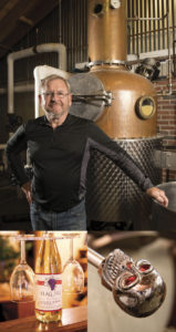 Top: Frank Reinhold Jr. has run Flag Hill in Lee, N.H., for 20 years. Bottom left: Flag Hill hosts weddings and wine and spirits tastings on its premises. Bottom right: A decorative, if not demonic, handle on one of Flag Hill's stills. Photography by Kevin Harkins.