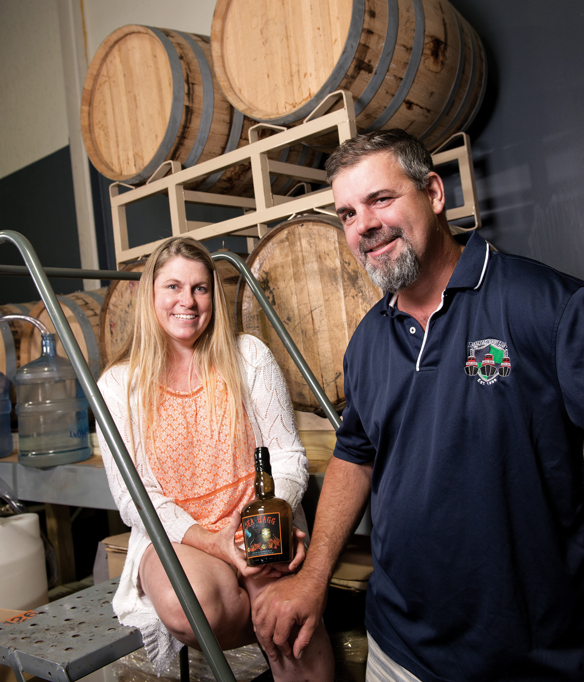 Sea Hagg owner Heather Hughes, left, with distiller Ron Vars inside of Sea Hagg's North Hampton, N.H., facility. Photos by Kevin Harkins.