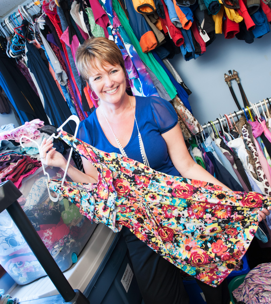 Anne-Marie Bisson, who founded Catie's Closet to honor her late daughter, inside the organization's Donation Center in Dracut. Photo by Kevin Harkins.