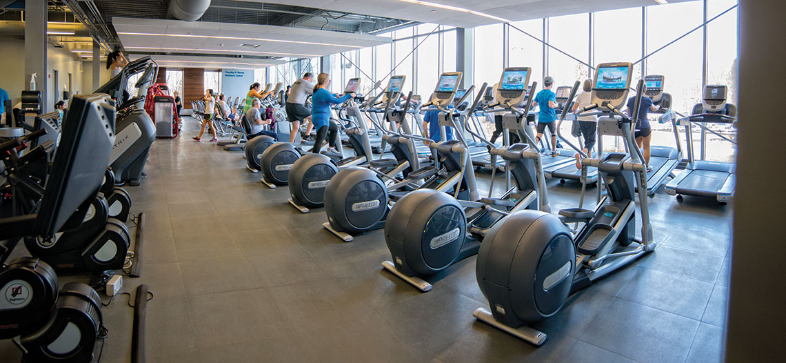 The main level fitness center offers separate workout rooms. The recently completed project also features areas for children and seniors and a physical therapy clinic, which is an extension of Lawrence General Hospital's outpatient rehab program. Photo by Kevin Harkins.