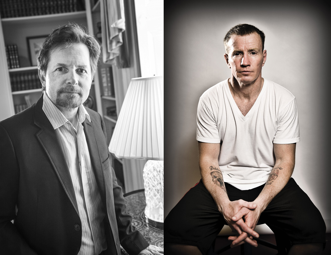 """Left: Harkins photographed actor Michael J. Fox during Middlesex Community College's annual Celebrity Forum in June 2012. Right: Lowell boxer Micky Ward was photographed by Harkins for the November/December 2010 cover of Merrimack Valley Magazine, just prior to the release of the biopic film """"The Fighter."""""""