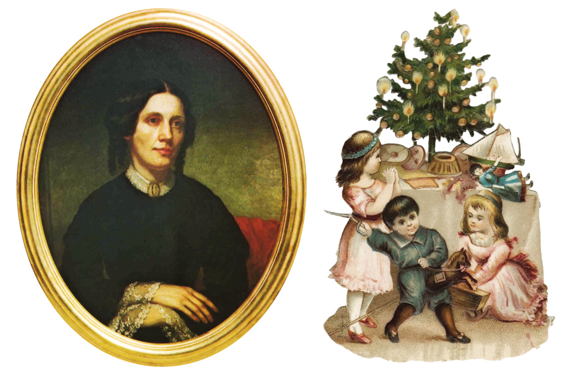 Top of page: The Harriet Beecher Stowe home in Andover. Left: A portrait of Harriet Beecher Stowe. Right: An artist's rendering of what a Christmas tree might have looked like, circa 1854. Images courtesy Andover Historical Society.