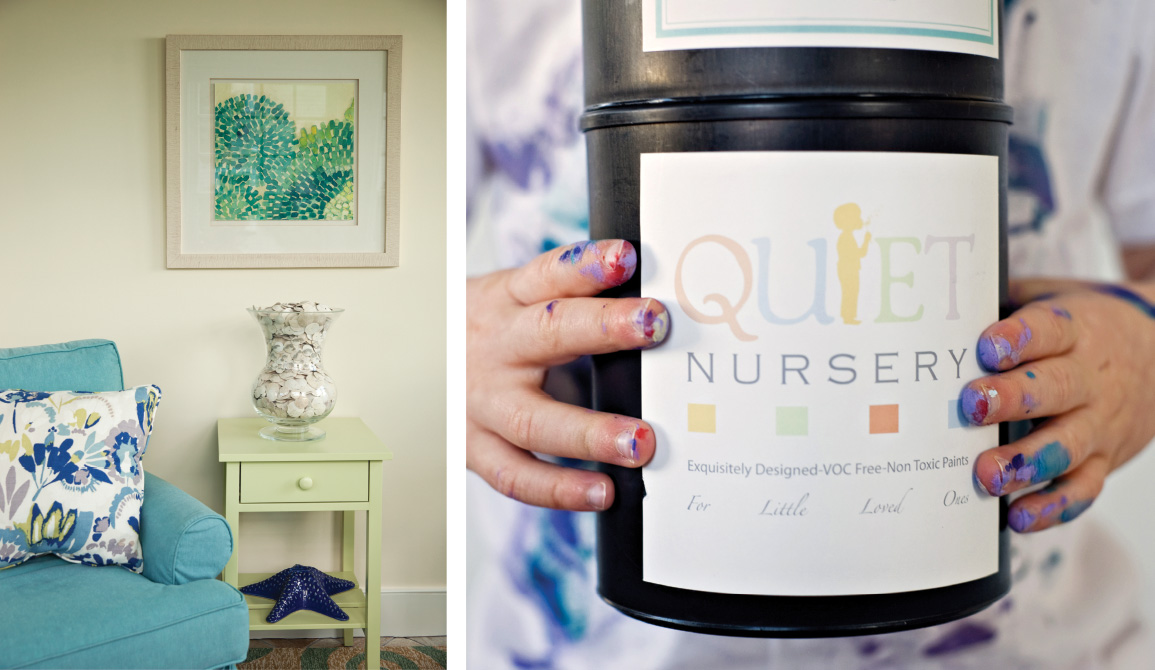 """Left: From the home Teague worked on in Kennebunkport, Maine (see feature in our Fall home issue), a blue-green color scheme incorporates complementary art, also from Christine's Crossing. The homeowner says this small sunroom is one of her favorites. """"We actually end up in here a lot,"""" she says. """"If it's too chilly on the beach, and it's wine time, we come into this room."""" ( Photo by Emily O'Brien ) Right: The Nursery Collection from Teague's line of organic, non-toxic Quiet Home Paints. ( Photo by NMD Photography )"""