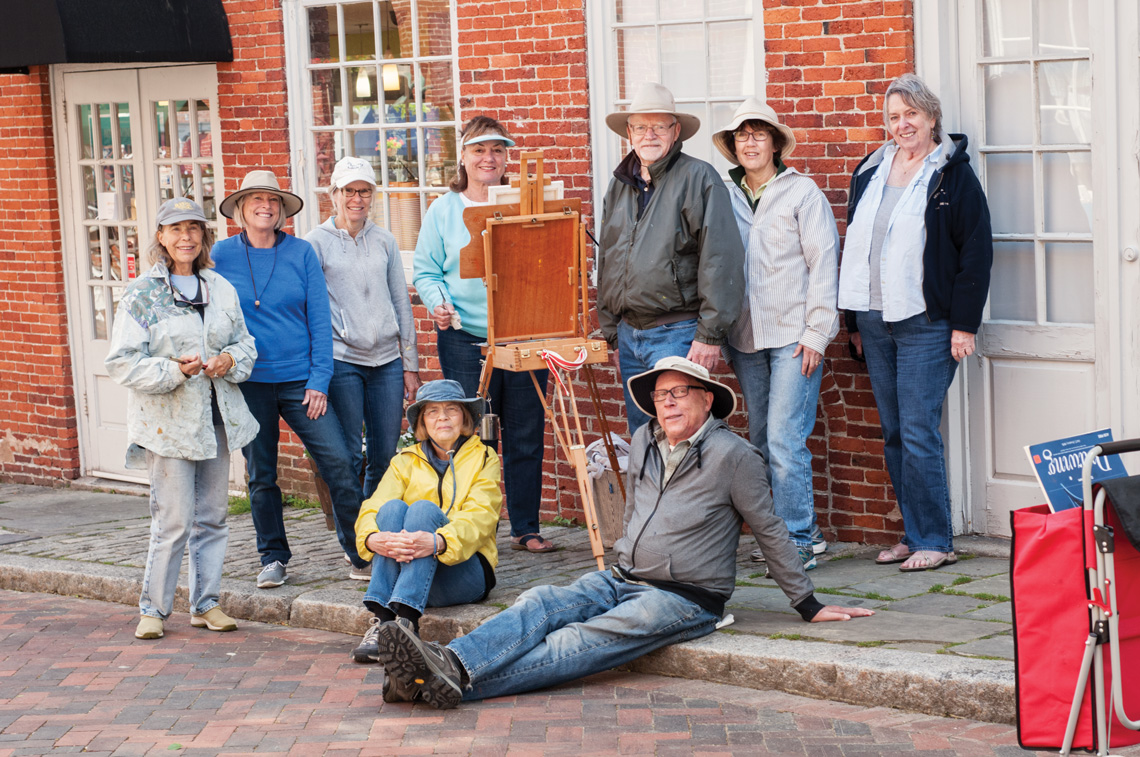 Left to right, top to bottom: Marjet Lesk, Susan Spellman, Shelly Campion, Andrea Holbrook, Dan Shaw, Cynthia Cooper, Janet MacLeod, Susan Luca and Rob Wilkie take part in a Newburyport Ten painting session. Photos by Kevin Harkins.