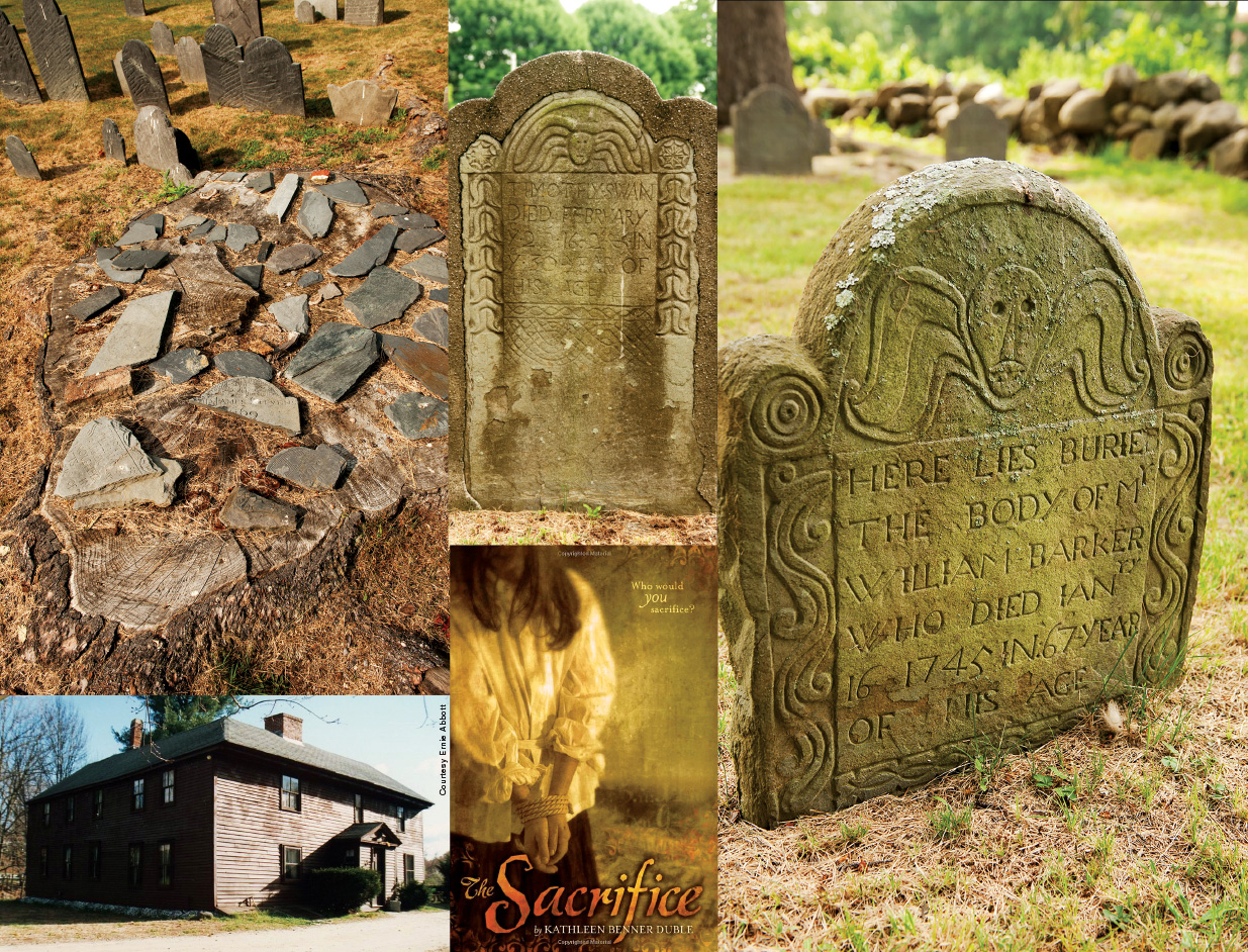 "Top left: Shattered pieces of gravestones adorn a tree trunk at The Old Burial Ground in North Andover. Bottom left: The Chandler-Bigsby-Abbott house in Andover. Top middle: Timothy Swan's gravestone at The Old Burial Ground. Bottom middle: Kathleen Benner Duble's award-winning book, ""The Sacrifice."" Right: William Barker Jr. has one of the more distinctive gravestones at The Old Burial Ground. Photos by Kevin Harkins."