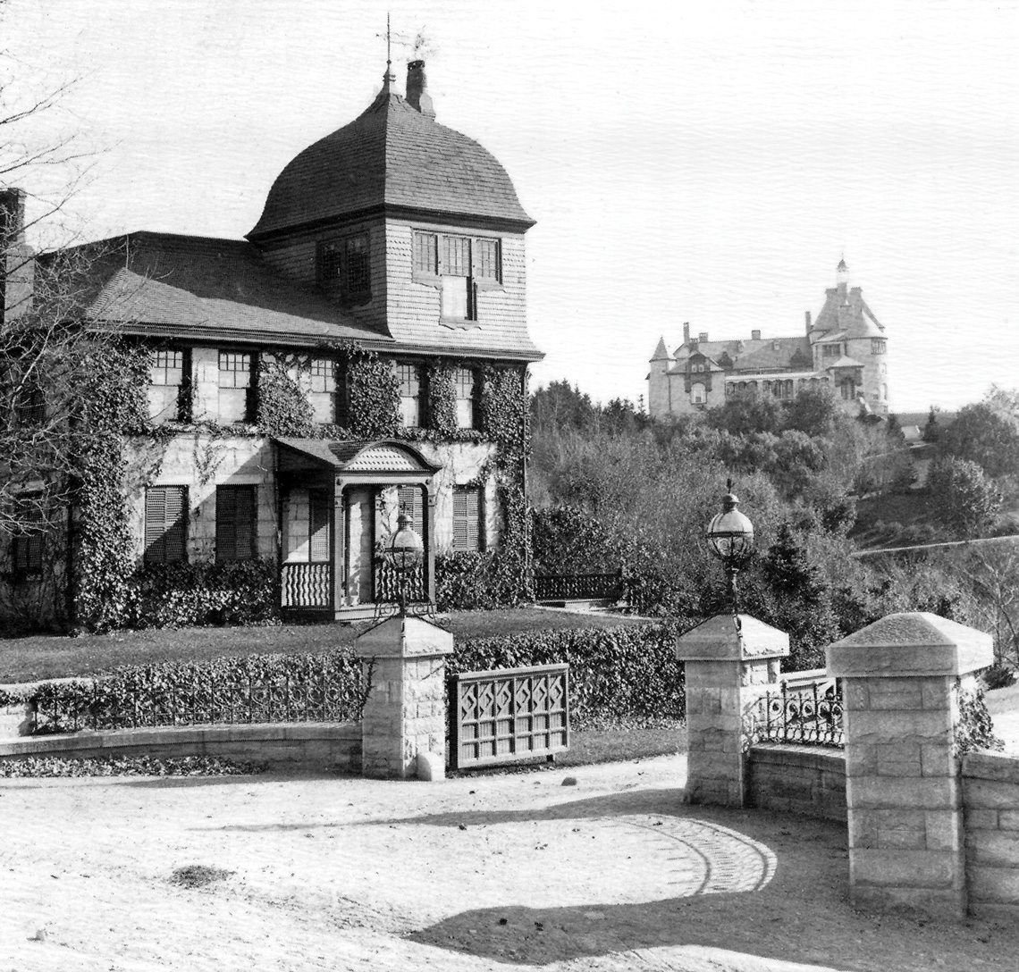 The Tenney Gatehouse circa 1920, Greycourt Castle is in the background. Courtesy Methuen Historical Collection.