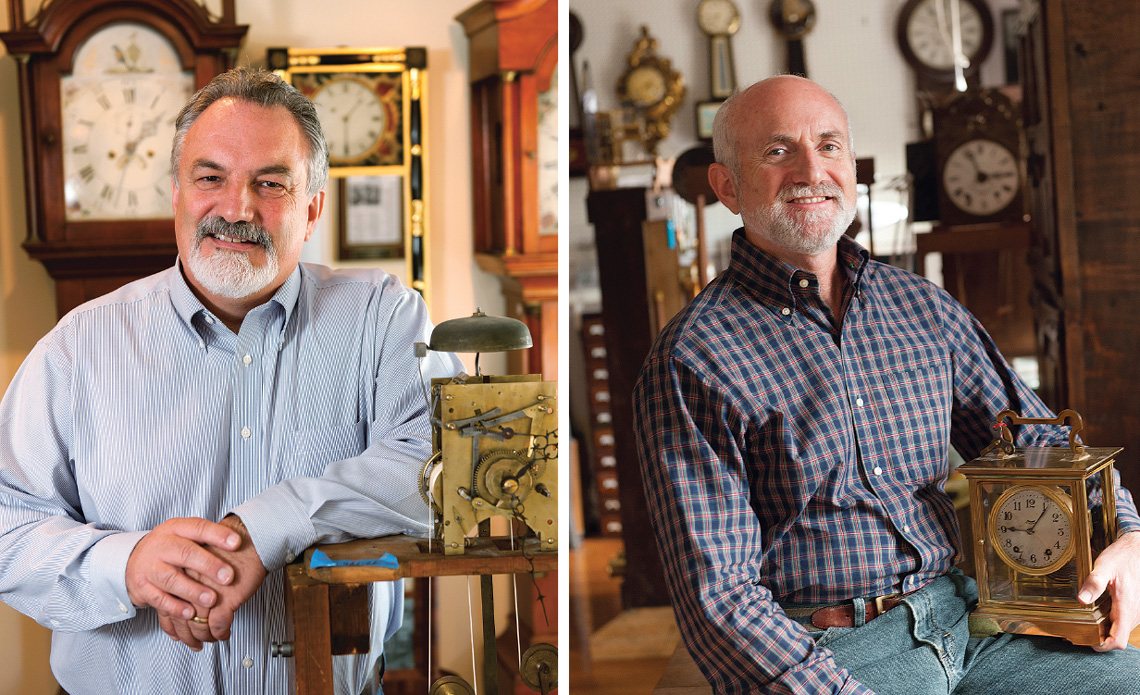 Clock repair specialists Jim McKenna (left) and Bob Frishman (right) provide a service that requires an usual amount of patience, focus and study.Photos by Kevin Harkins.