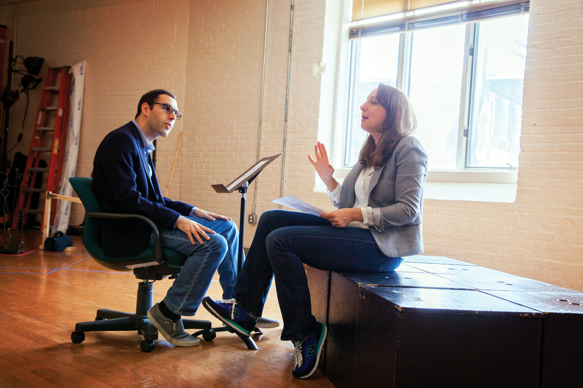 Director Alexander Greenfield runs lines with principal actor Veronika Duerr. Photo by Meghan Moore.