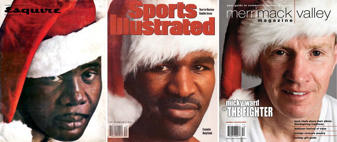 The Nov/Dec 2010 cover of MVM ( far right ) paid homage to these classic holiday boxing covers of the past. Left: Sonny Liston, Esquire December 1963. Middle: Evander Holyfield, Sports Illustrated, December 29, 1997.