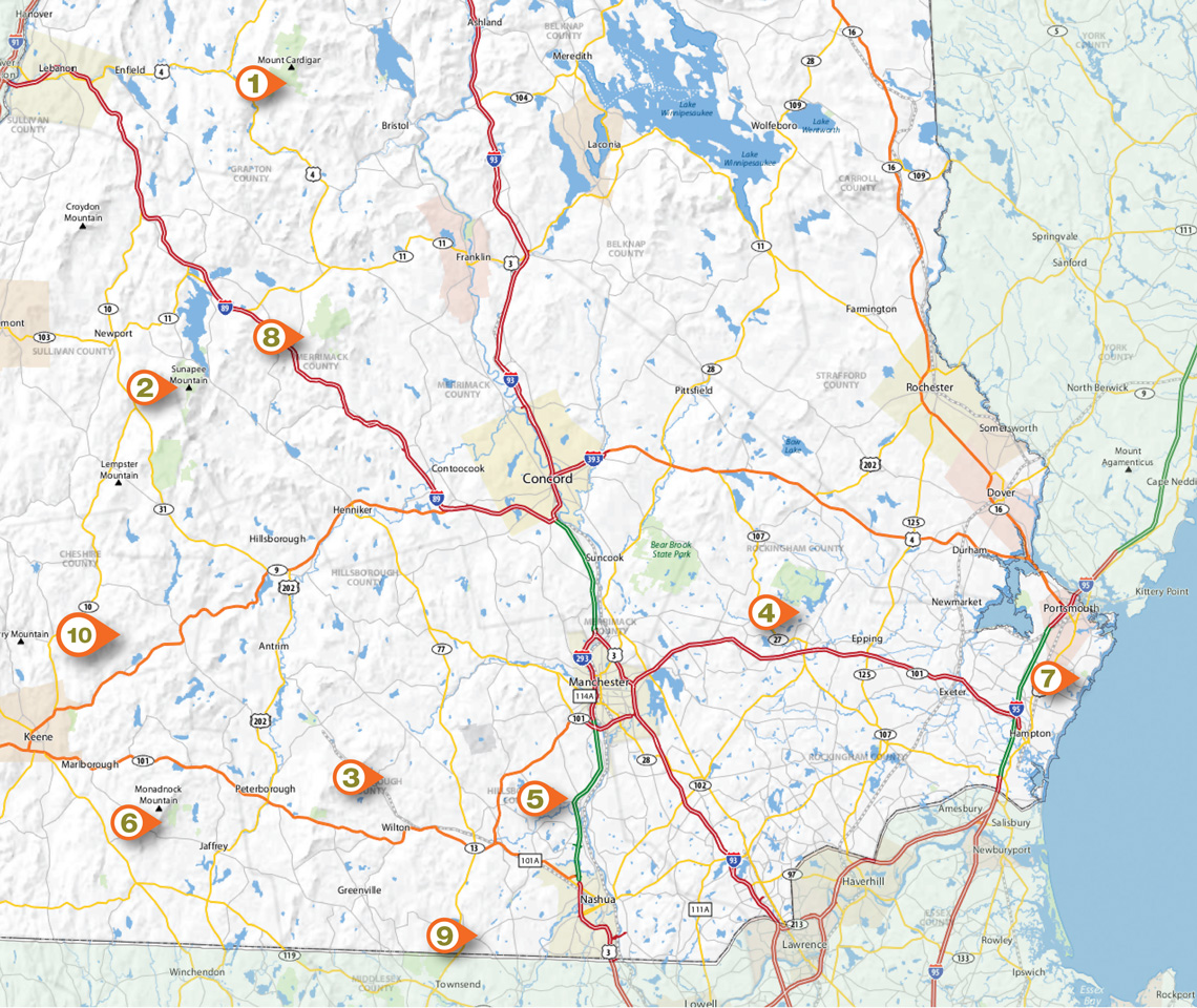 Map of southern New Hampshire hiking trails.